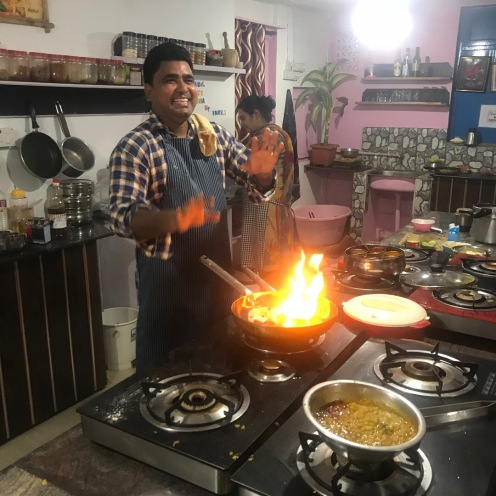 Chef Rahul demonstrating flame cooked