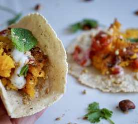 Squash Tacos - Roasted squash, garam masala, hazelnut dukkah, mint yoghurt & fresh tomato salsa